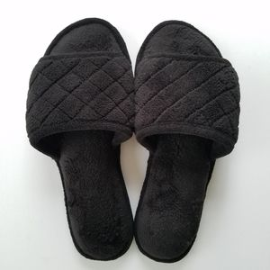 Dearfoams Slippers Quilted Terry Black Size L 9-10